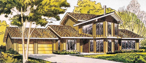 Contemporary, Retro House Plan 10394 with 3 Beds, 2 Baths, 2 Car Garage Front Elevation