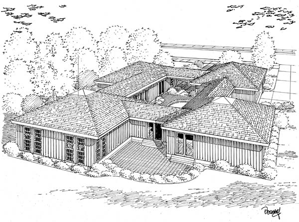 Contemporary, One-Story, Ranch House Plan 10507 with 3 Beds, 2 Baths, 2 Car Garage Rear Elevation