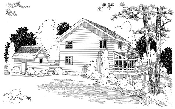 Cabin, Contemporary House Plan 10515 with 3 Beds, 3 Baths Rear Elevation