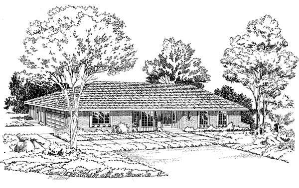 One-Story, Ranch, Retro, Traditional House Plan 10656 with 3 Beds, 3 Baths, 2 Car Garage Elevation
