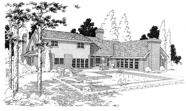 European, Traditional House Plan 10696 with 4 Beds, 4 Baths, 3 Car Garage Rear Elevation