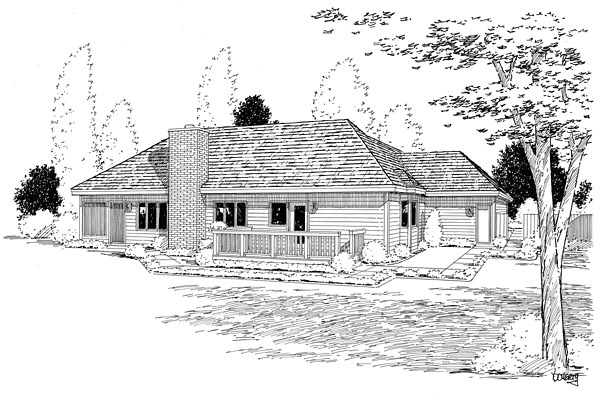 Country, Ranch, Southern, Traditional House Plan 10839 with 3 Beds, 2 Baths, 3 Car Garage Rear Elevation