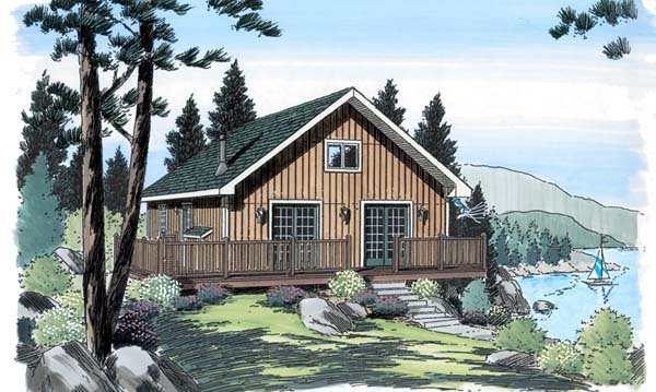 Bungalow, Cabin House Plan 20001 with 2 Beds, 1 Baths Elevation