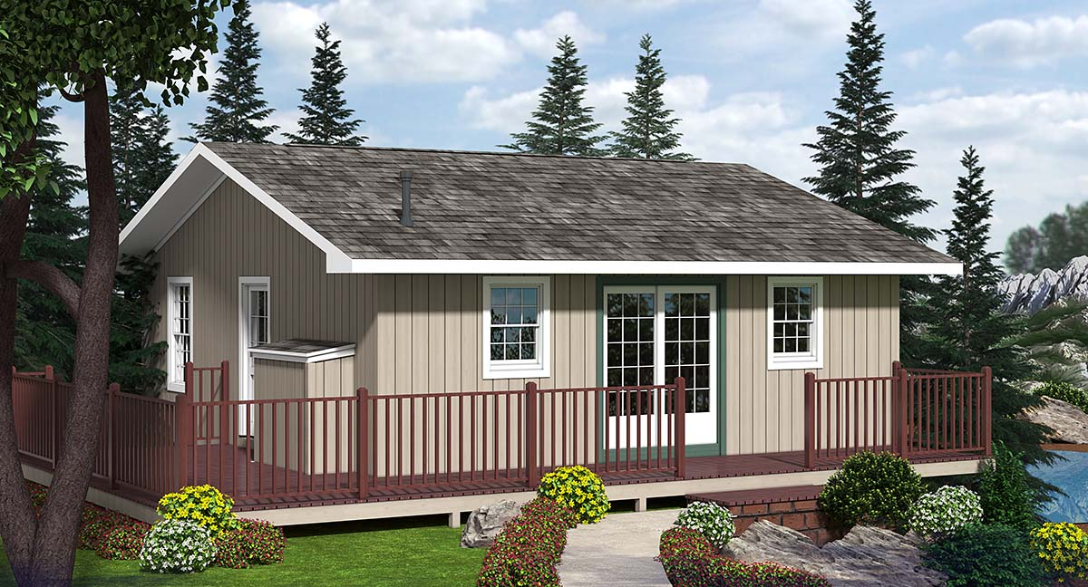 Cabin House Plan 20002 with 2 Beds, 1 Baths Elevation