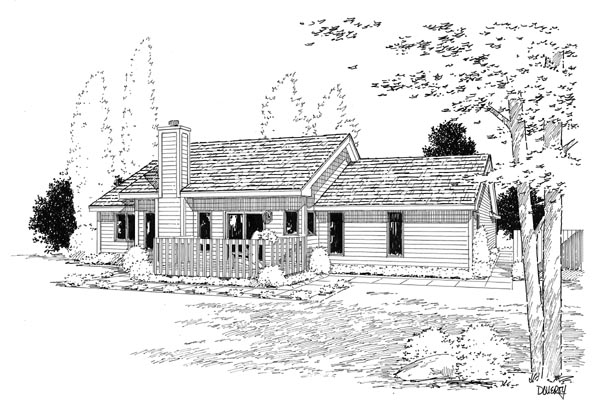 Country, One-Story, Ranch, Traditional House Plan 20083 with 3 Beds, 2 Baths, 2 Car Garage Rear Elevation