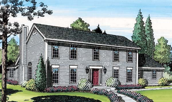 Colonial, Saltbox House Plan 20136 with 3 Beds, 3 Baths, 2 Car Garage Elevation