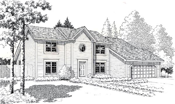 Colonial, Contemporary, Saltbox House Plan 20142 with 3 Beds, 3 Baths, 2 Car Garage Elevation