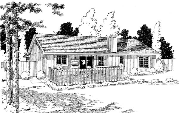 One-Story, Ranch, Traditional House Plan 20161 with 3 Beds, 2 Baths, 2 Car Garage Rear Elevation