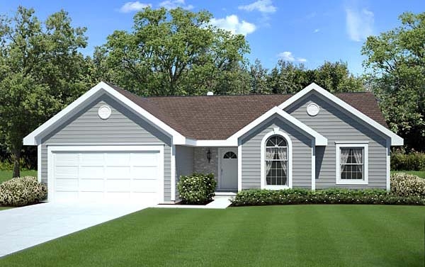 Ranch, Traditional House Plan 20164 with 3 Beds, 2 Baths, 2 Car Garage Elevation