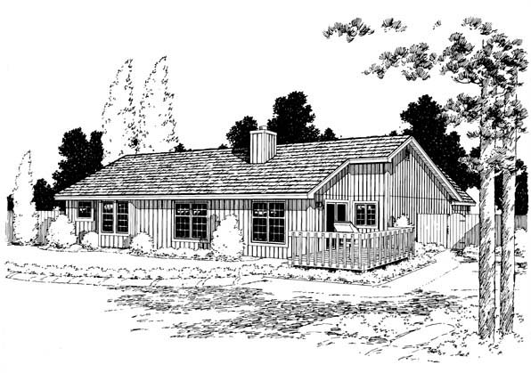 Ranch, Traditional House Plan 20164 with 3 Beds, 2 Baths, 2 Car Garage Rear Elevation