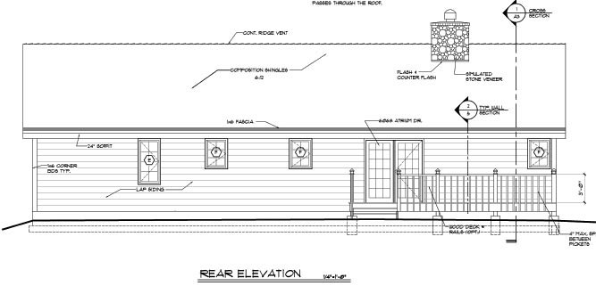 Country, Ranch, Traditional House Plan 20227 with 3 Beds, 2 Baths Rear Elevation
