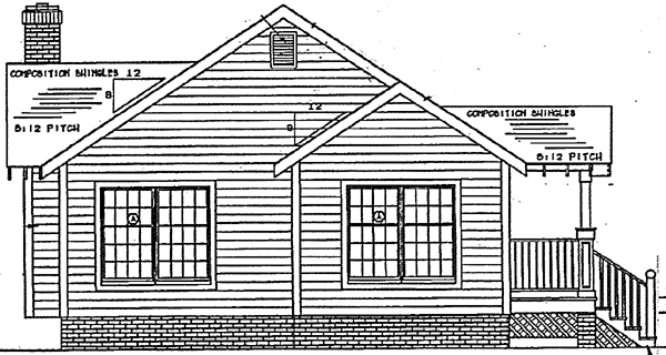 Bungalow, Country, Craftsman, One-Story House Plan 24241 with 3 Beds, 2 Baths Rear Elevation