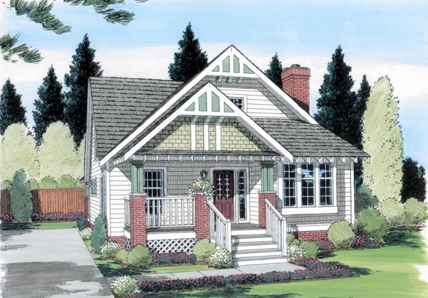 Bungalow, Craftsman House Plan 24242 with 4 Beds, 3 Baths Elevation
