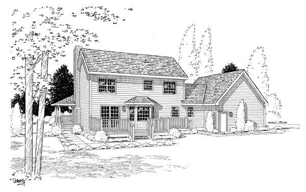 Country, Farmhouse, Southern House Plan 24245 with 3 Beds, 3 Baths, 2 Car Garage Rear Elevation