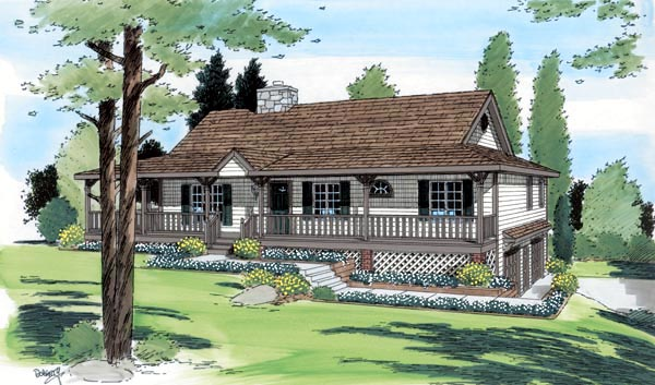 Country, Ranch House Plan 24249 with 3 Beds, 2 Baths, 2 Car Garage Front Elevation