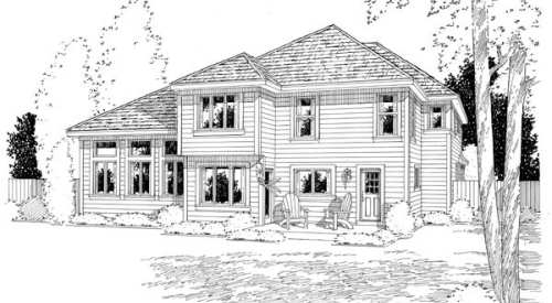 Craftsman, European, French Country House Plan 24264 with 4 Beds, 3 Baths, 2 Car Garage Rear Elevation