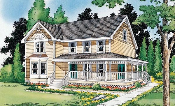 Country, Farmhouse, Victorian House Plan 24301 with 4 Beds, 3 Baths Elevation