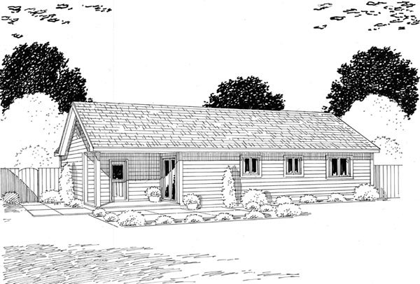 One-Story, Ranch, Traditional House Plan 24302 with 3 Beds, 2 Baths, 1 Car Garage Rear Elevation