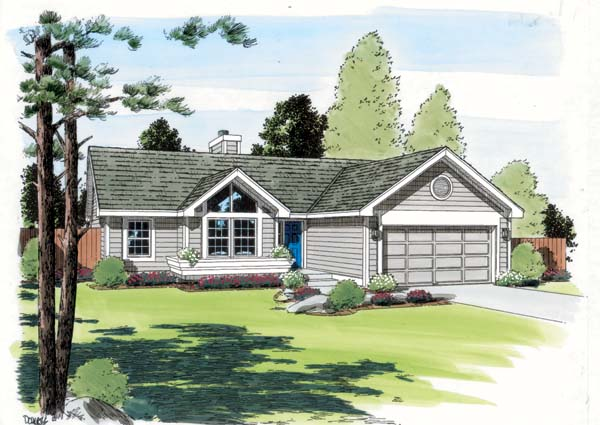 Contemporary, One-Story, Ranch, Traditional House Plan 24304 with 3 Beds, 2 Baths, 2 Car Garage Elevation