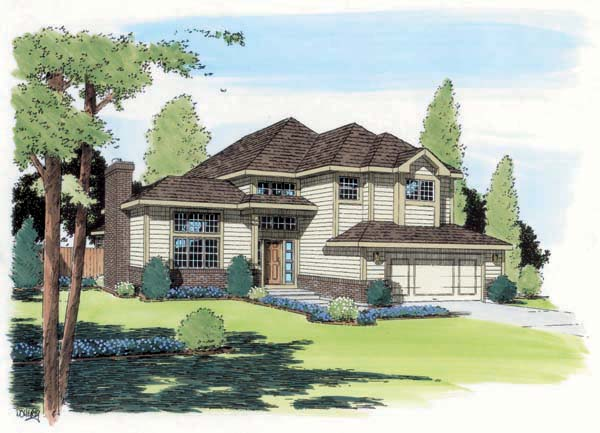 Contemporary, European, Traditional House Plan 24323 with 3 Beds, 3 Baths, 2 Car Garage Elevation
