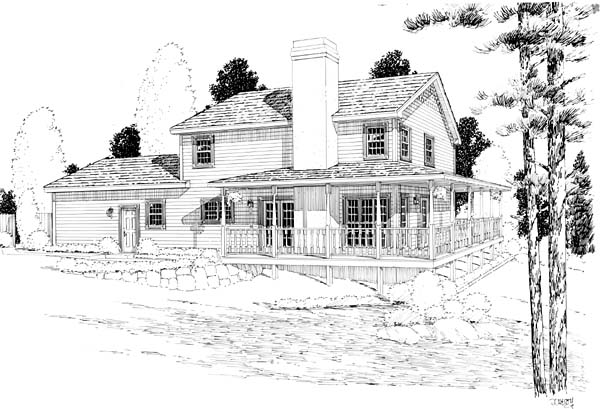Country, Farmhouse, Traditional House Plan 24400 with 3 Beds, 3 Baths, 2 Car Garage Rear Elevation