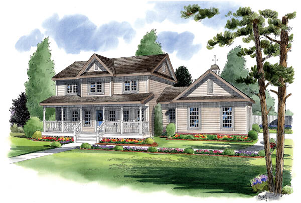 Country, Farmhouse, Traditional House Plan 24405 with 4 Beds, 4 Baths, 2 Car Garage Front Elevation