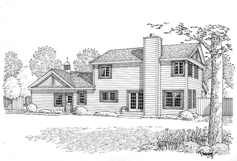 Country, Farmhouse, Traditional House Plan 24405 with 4 Beds, 4 Baths, 2 Car Garage Rear Elevation