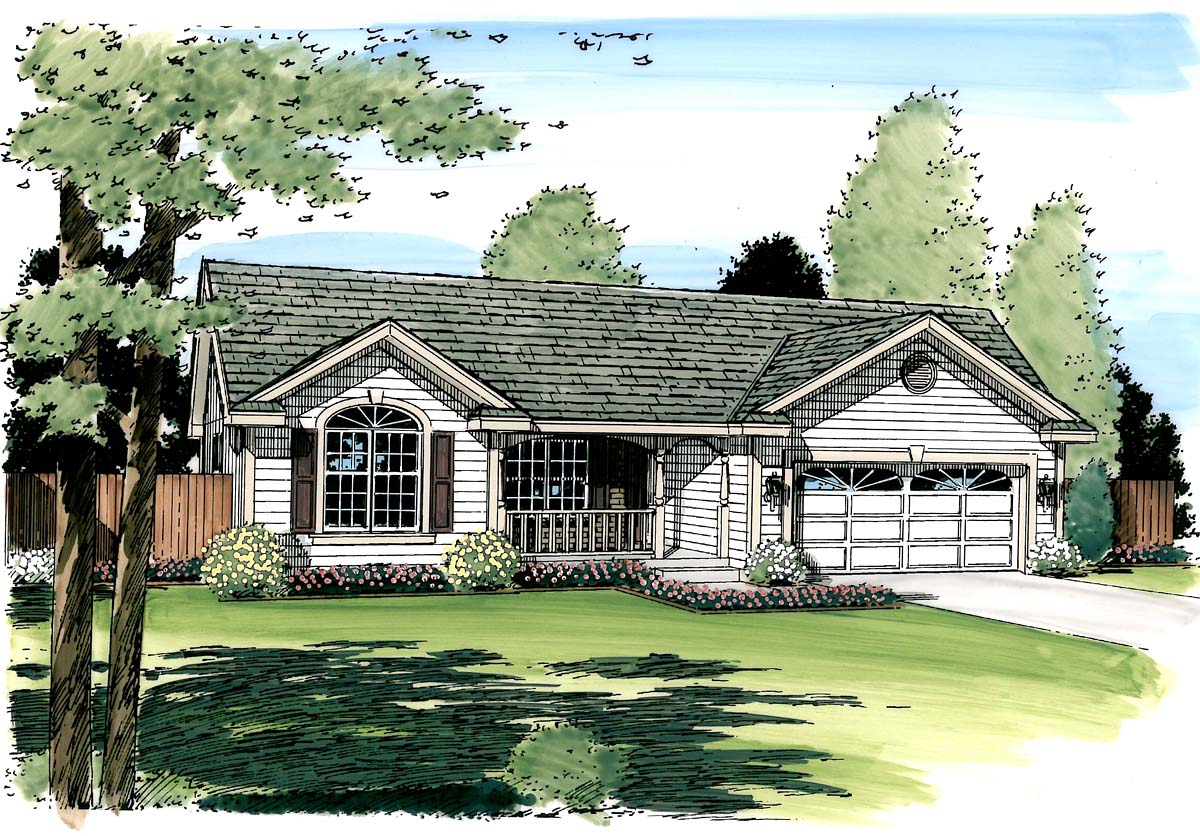 Cottage, Country, Ranch, Southern, Traditional House Plan 24700 with 3 Beds, 2 Baths, 2 Car Garage Picture 2