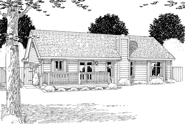 Cottage, Country, Ranch, Southern, Traditional House Plan 24700 with 3 Beds, 2 Baths, 2 Car Garage Rear Elevation