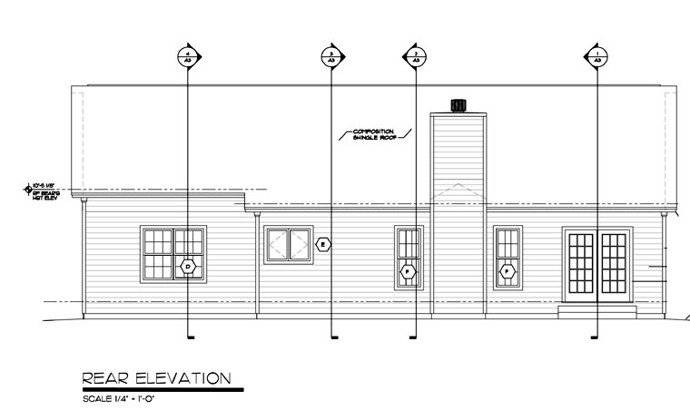 One-Story, Ranch, Traditional House Plan 24701 with 3 Beds, 2 Baths, 2 Car Garage Rear Elevation