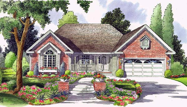 Country, Ranch, Traditional House Plan 24714 with 2 Beds, 2 Baths, 2 Car Garage Front Elevation