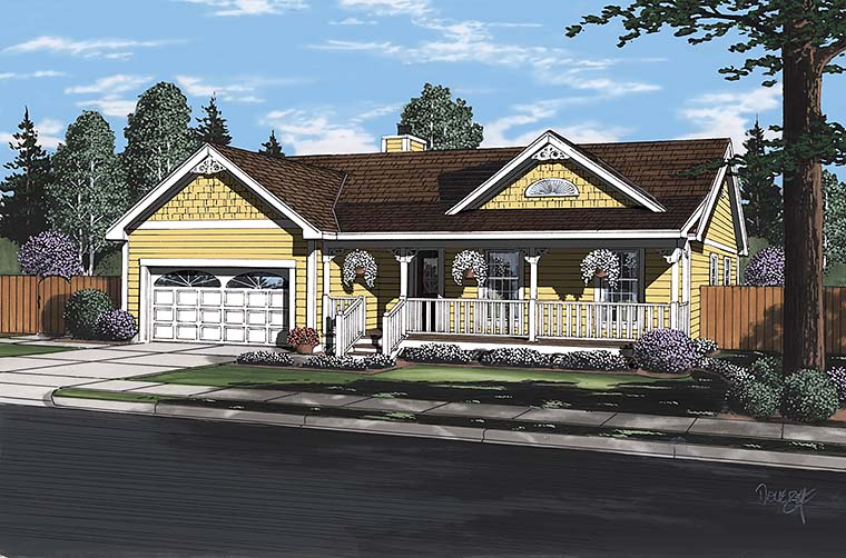 Bungalow, Country, Southern, Traditional House Plan 24721 with 3 Beds, 2 Baths, 2 Car Garage Elevation