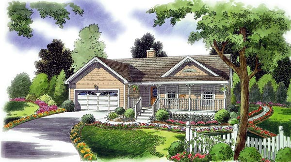 Bungalow, Country, Southern, Traditional House Plan 24721 with 3 Beds, 2 Baths, 2 Car Garage Picture 1