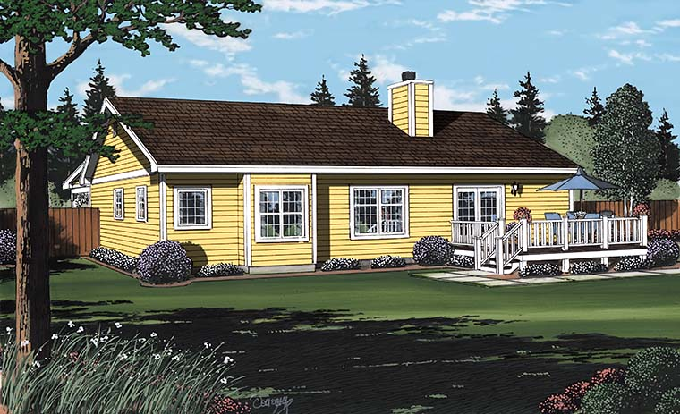 Bungalow, Country, Southern, Traditional House Plan 24721 with 3 Beds, 2 Baths, 2 Car Garage Rear Elevation