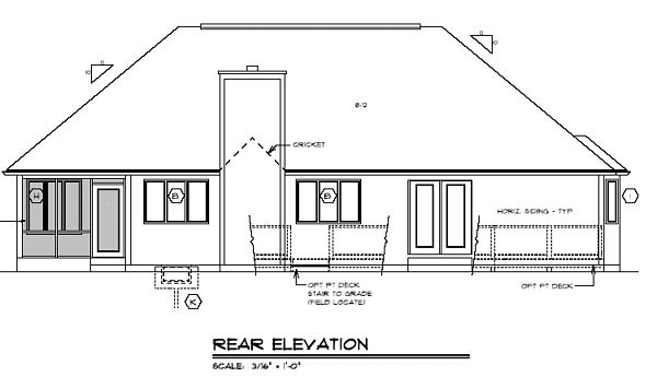 Country, Ranch, Traditional House Plan 24744 with 3 Beds, 2 Baths, 2 Car Garage Rear Elevation