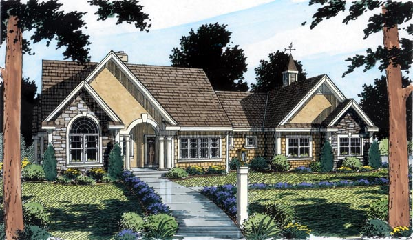 Bungalow, European, Ranch, Traditional House Plan 24953 with 3 Beds, 3 Baths, 2 Car Garage Elevation