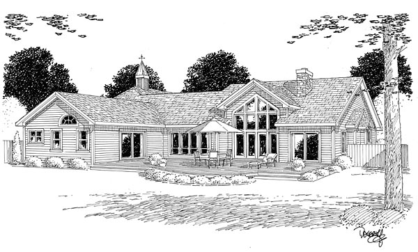 Bungalow, European, Ranch, Traditional House Plan 24953 with 3 Beds, 3 Baths, 2 Car Garage Rear Elevation