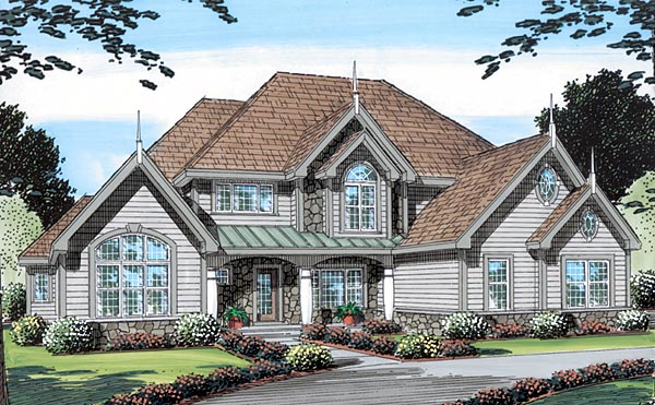 Bungalow, European, Traditional, Victorian House Plan 24969 with 4 Beds, 4 Baths, 3 Car Garage Elevation