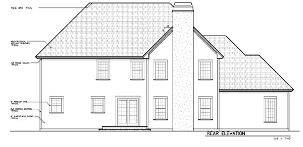 Bungalow, European, Traditional, Victorian House Plan 24969 with 4 Beds, 4 Baths, 3 Car Garage Rear Elevation