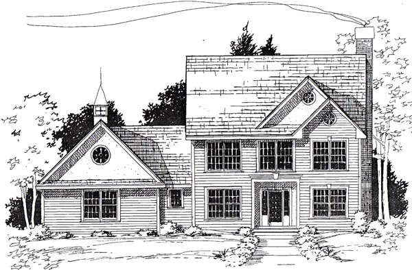 Colonial, Traditional House Plan 24975 with 3 Beds, 3 Baths, 2 Car Garage Elevation