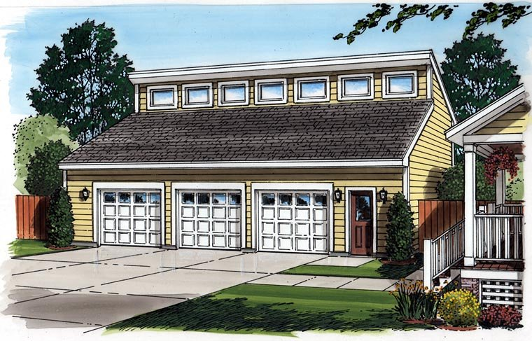 Contemporary 3 Car Garage Plan 30013 Picture 1