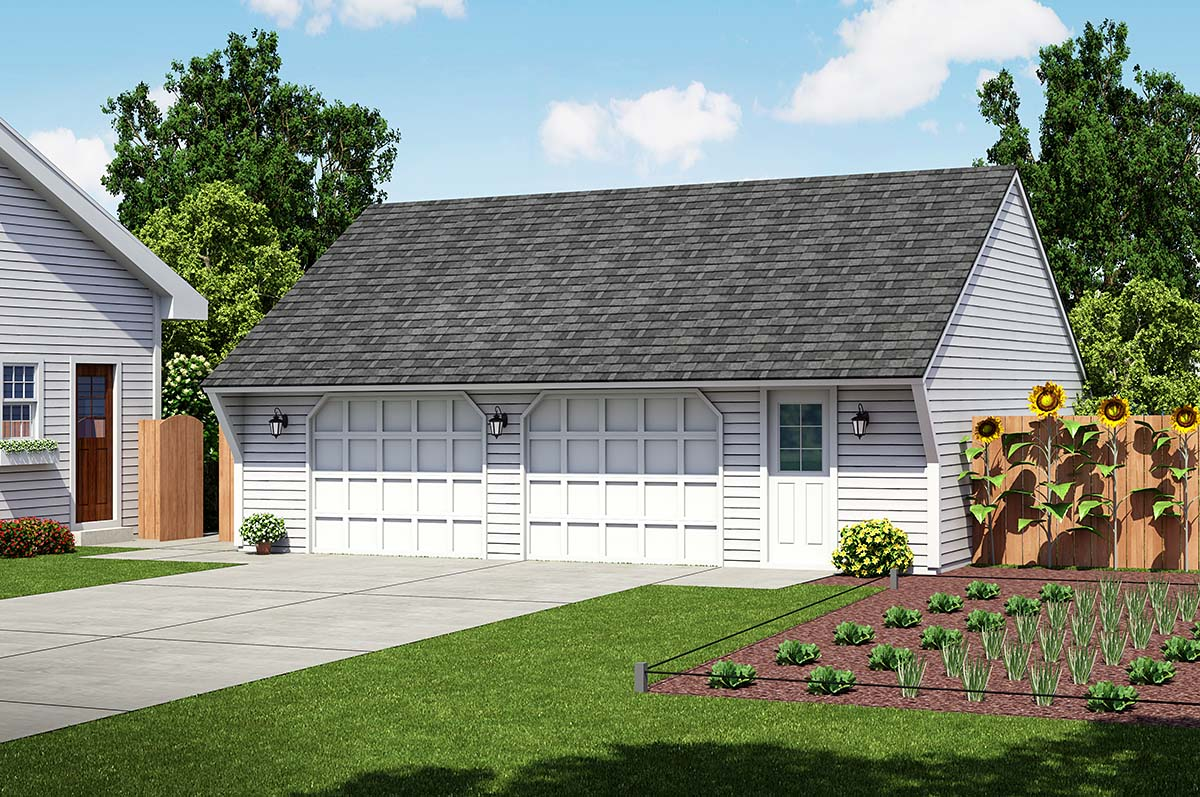 Cape Cod, Saltbox, Traditional 2 Car Garage Plan 30021 Elevation