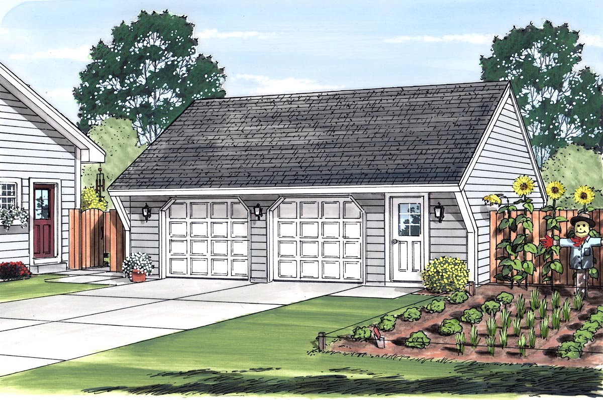 Cape Cod, Saltbox, Traditional 2 Car Garage Plan 30021 Picture 1