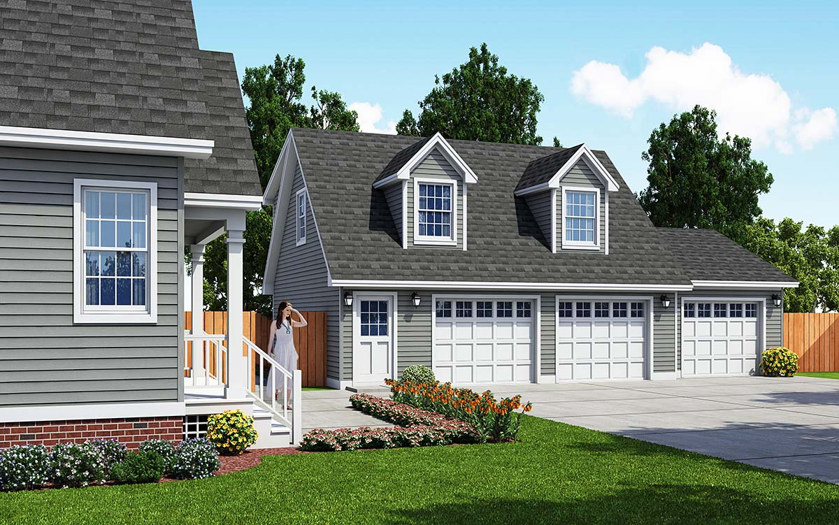Cape Cod, Saltbox, Traditional 3 Car Garage Apartment Plan 30033 Front Elevation