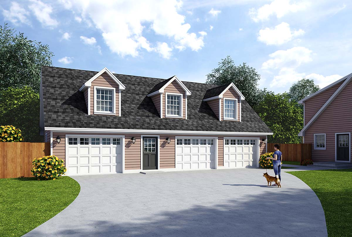 Cape Cod, Saltbox, Traditional 3 Car Garage Apartment Plan 30034 Elevation