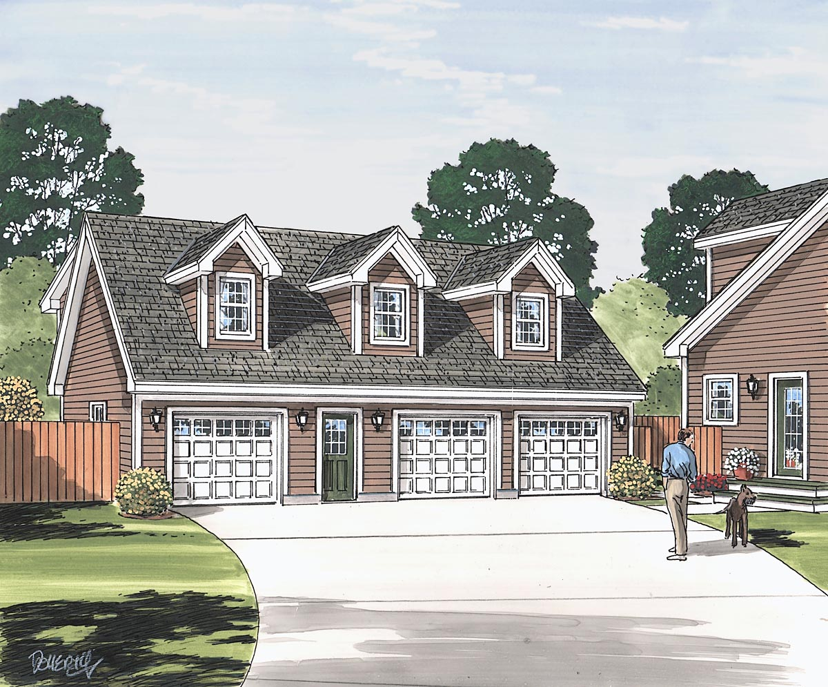 Cape Cod, Saltbox, Traditional 3 Car Garage Apartment Plan 30034 Picture 1