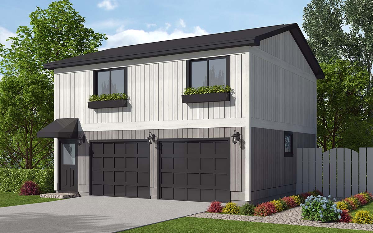 Contemporary, Traditional 2 Car Garage Apartment Plan 30040 with 2 Beds, 1 Baths Elevation