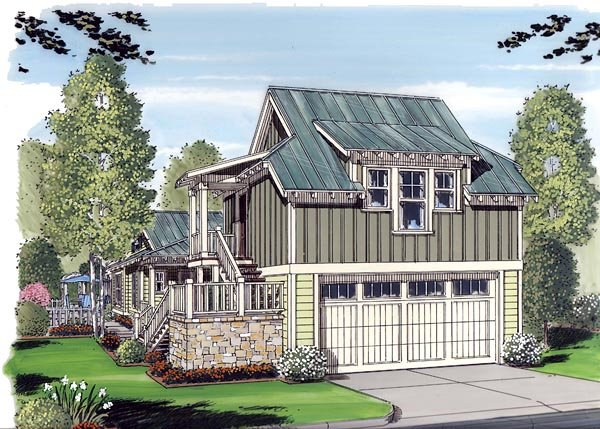 Bungalow, Cottage, Craftsman 2 Car Garage Apartment Plan 30503 with 1 Beds, 1 Baths Front Elevation