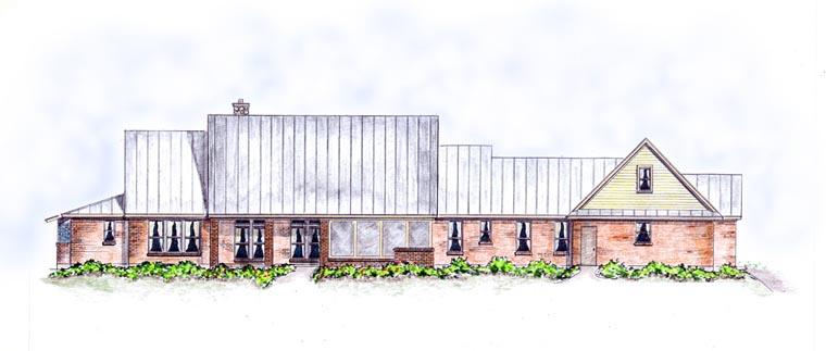 Craftsman, European, Farmhouse, Ranch House Plan 30507 with 3 Beds, 4 Baths, 3 Car Garage Rear Elevation