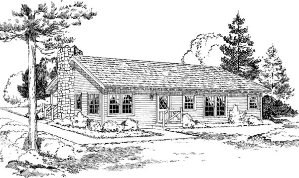 Country, Ranch House Plan 34003 with 3 Beds, 2 Baths Rear Elevation